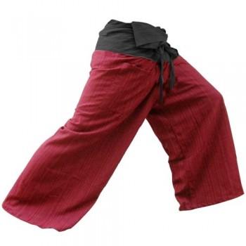 2-TONO-Pescador-Pantalones-Tailandeses-Pantalones-Yoga-Plus-Tamao-TAMAO-LIBRE-de-algodn-con-rayas-de-Algodn-BlackRed-0-0