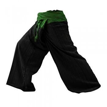 2-TONO-Pescador-Pantalones-Tailandeses-Pantalones-Yoga-Plus-Tamao-TAMAO-LIBRE-de-algodn-con-rayas-de-Algodn-Green-Back-0
