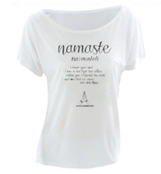Natural-Born-Yogi-Camiseta-de-manga-corta-de-yoga-para-mujer-diseo-de-texto-namaste-color-blanco-blanco-blanco-TallaS-0
